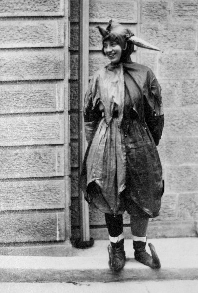 Student dressed for Halloween at the University of Wisconsin, ca. 1915.